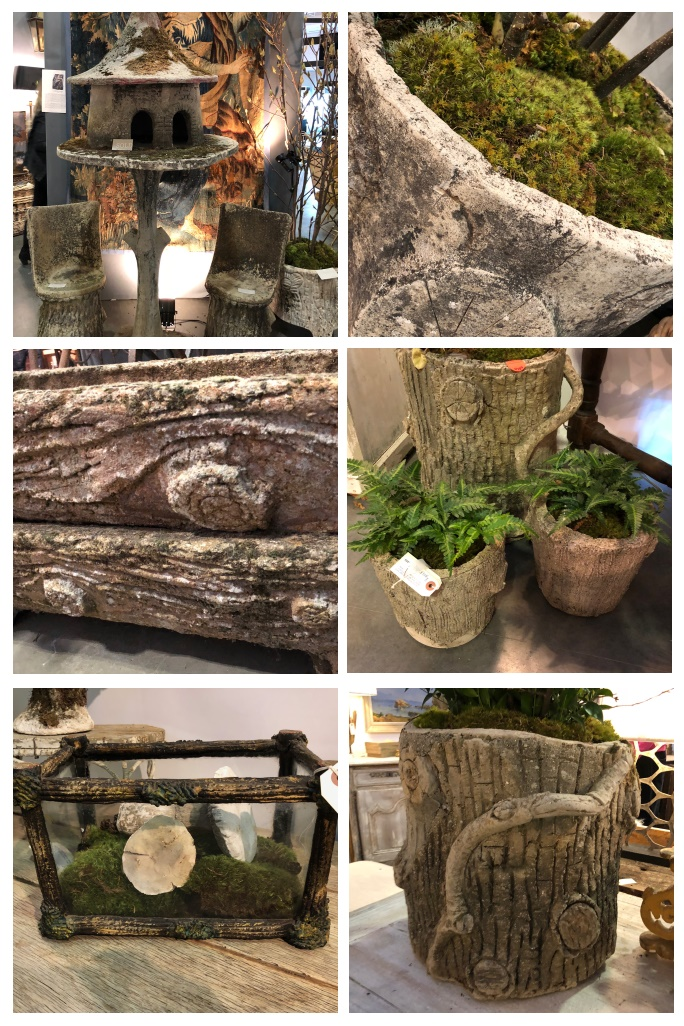 Collection of antique Faux Bois planters seen at the Nashville Antique & Garden Show - More images and details at Thinking Outside the Boxwood